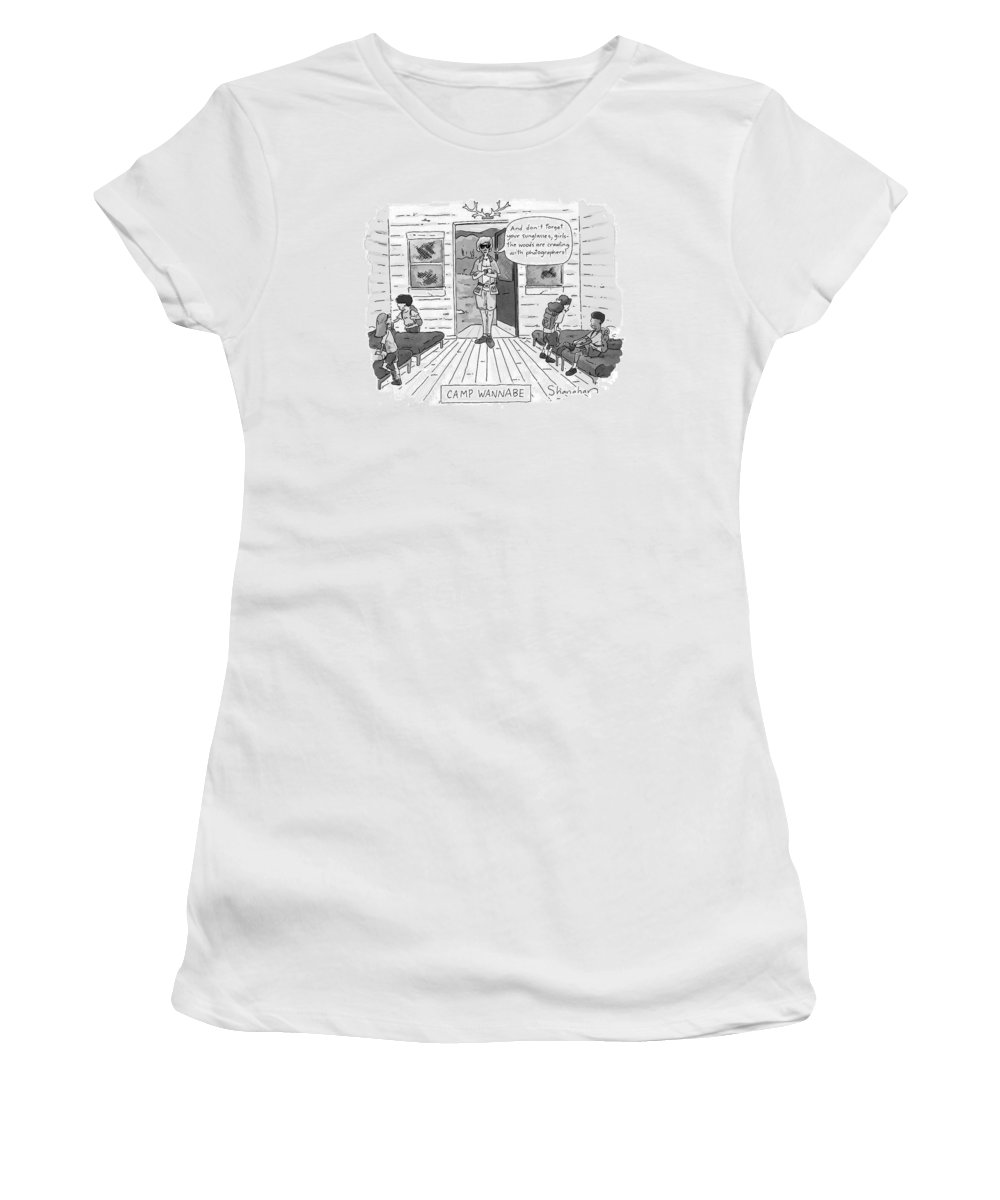 Leisure Women's T-Shirt (Athletic Fit) featuring the drawing New Yorker July 7th, 1997 by Danny Shanahan