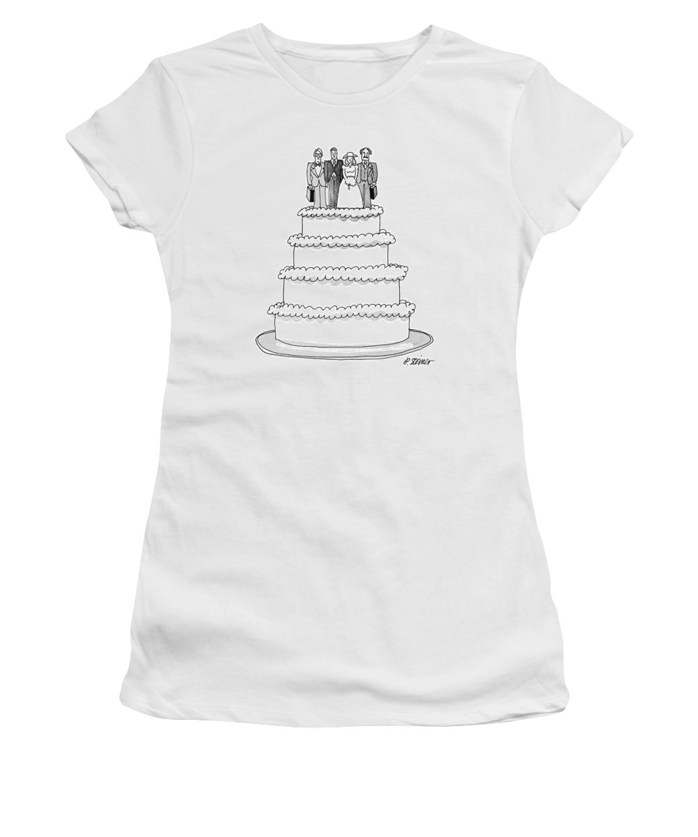 (wedding Cake With Figures Of The Bride And Groom Women's T-Shirt featuring the drawing New Yorker July 9th, 1979 by Peter Steiner