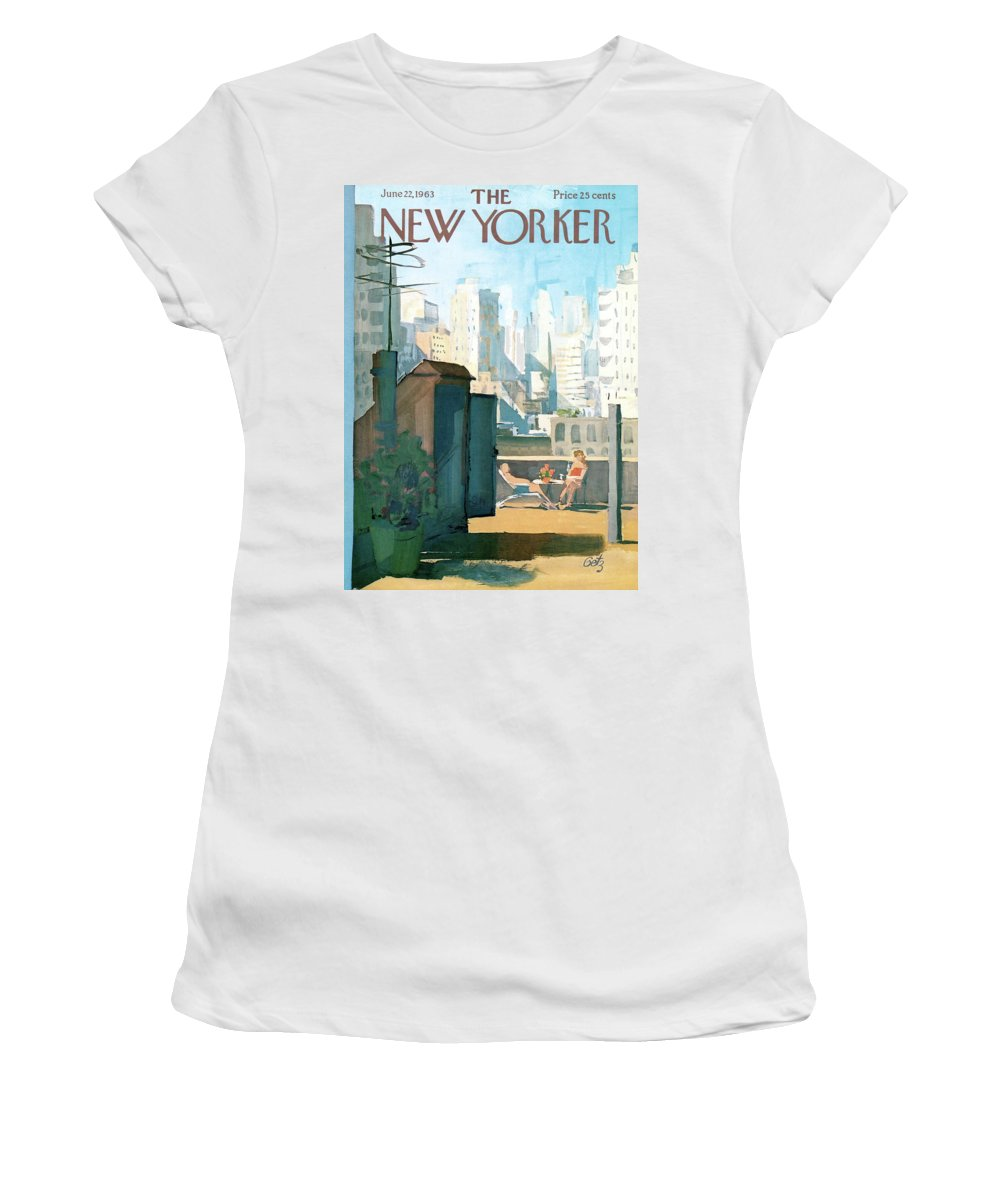 Women's T-Shirt featuring the painting New Yorker June 22nd, 1963 by Arthur Getz
