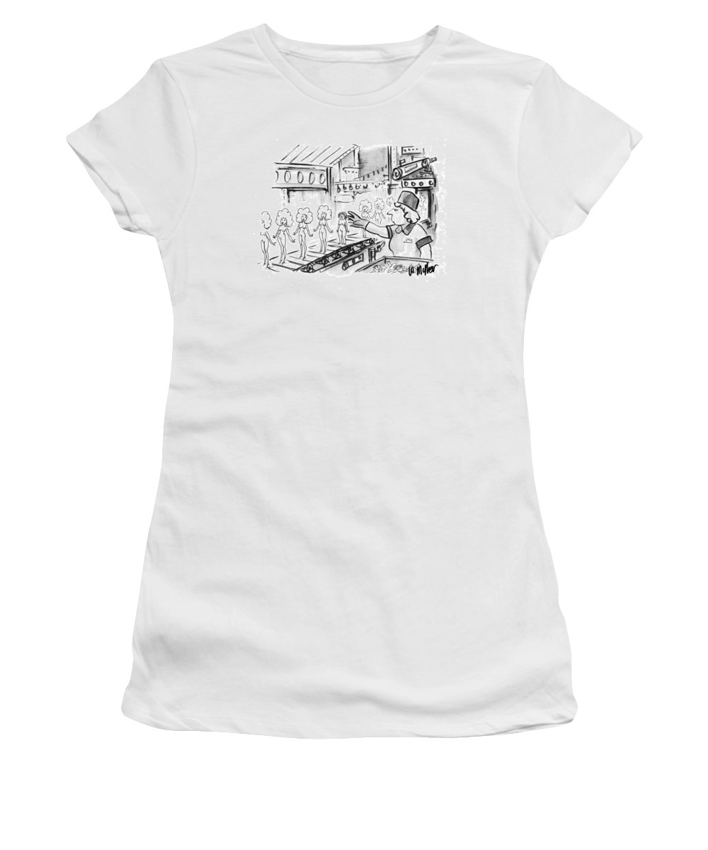 (woman Working At A Toy Factory Pulls A Dumpy Women's T-Shirt (Athletic Fit) featuring the drawing New Yorker October 4th, 1993 by Warren Miller