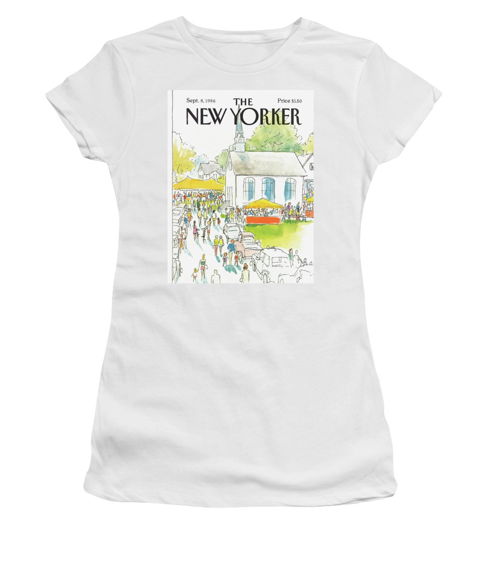 Autos Women's T-Shirt featuring the painting New Yorker September 8th, 1986 by Arthur Getz