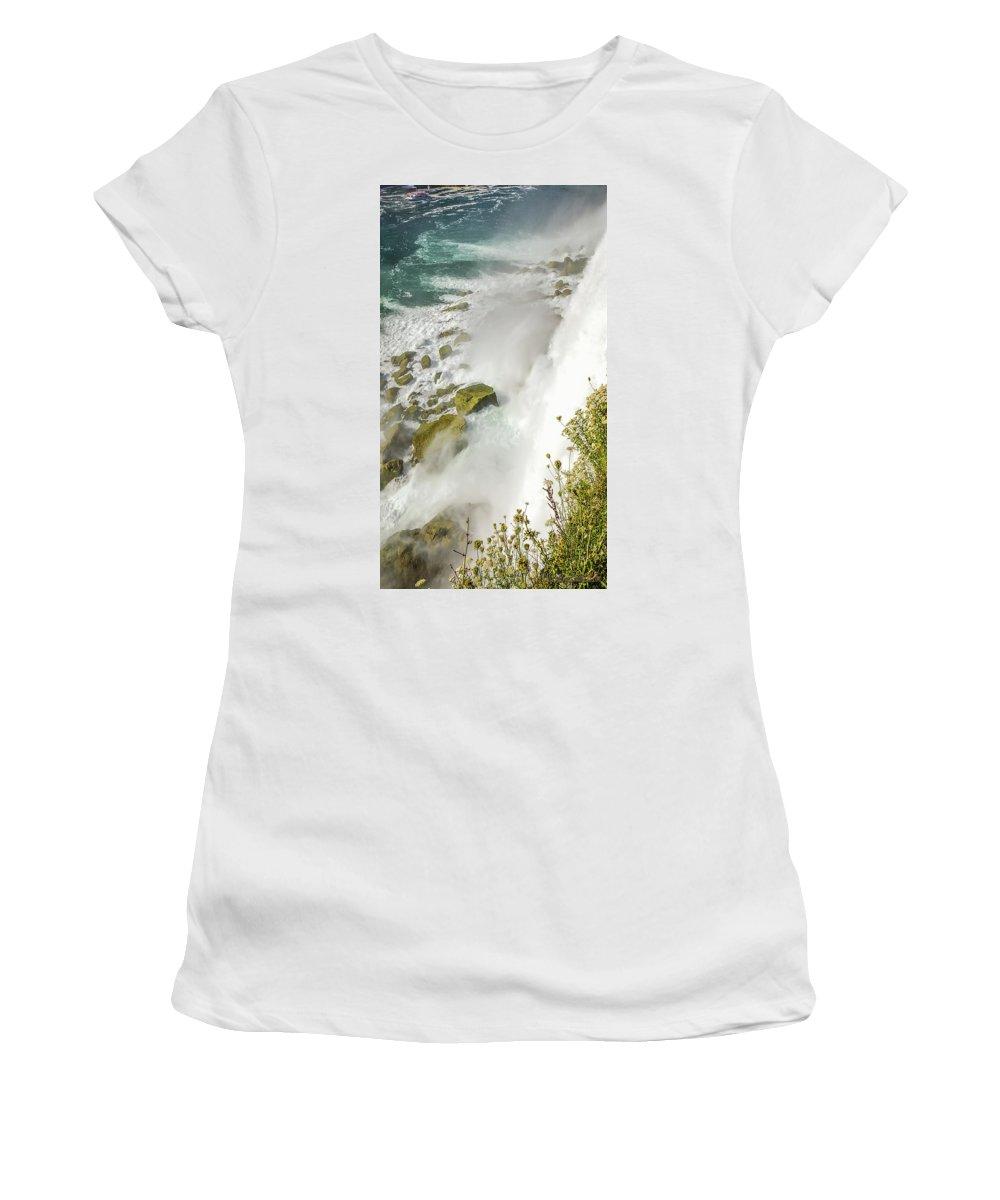 Niagara Falls On The Rocks Women's T-Shirt (Athletic Fit) featuring the photograph Niagara Falls On The Rocks by LeeAnn McLaneGoetz McLaneGoetzStudioLLCcom
