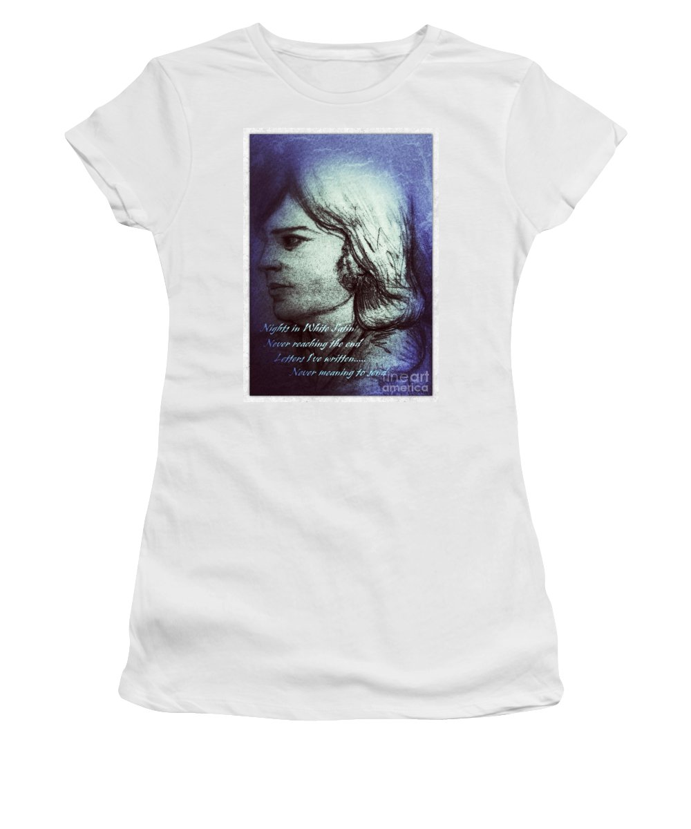 Justin Hayward Women's T-Shirt featuring the mixed media Nights In White Satin 3 by Joan-Violet Stretch