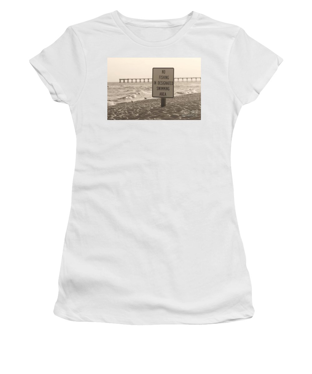 Fish Women's T-Shirt (Athletic Fit) featuring the photograph No Fishing by Michelle Powell