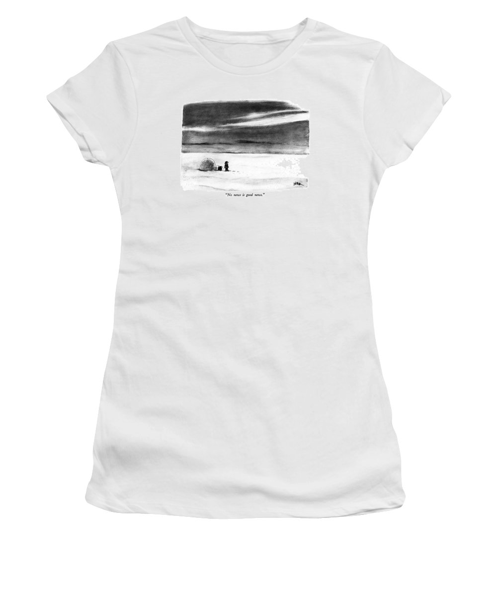 Catch Phrase Women's T-Shirt (Athletic Fit) featuring the drawing No News Is Good News by Robert Weber