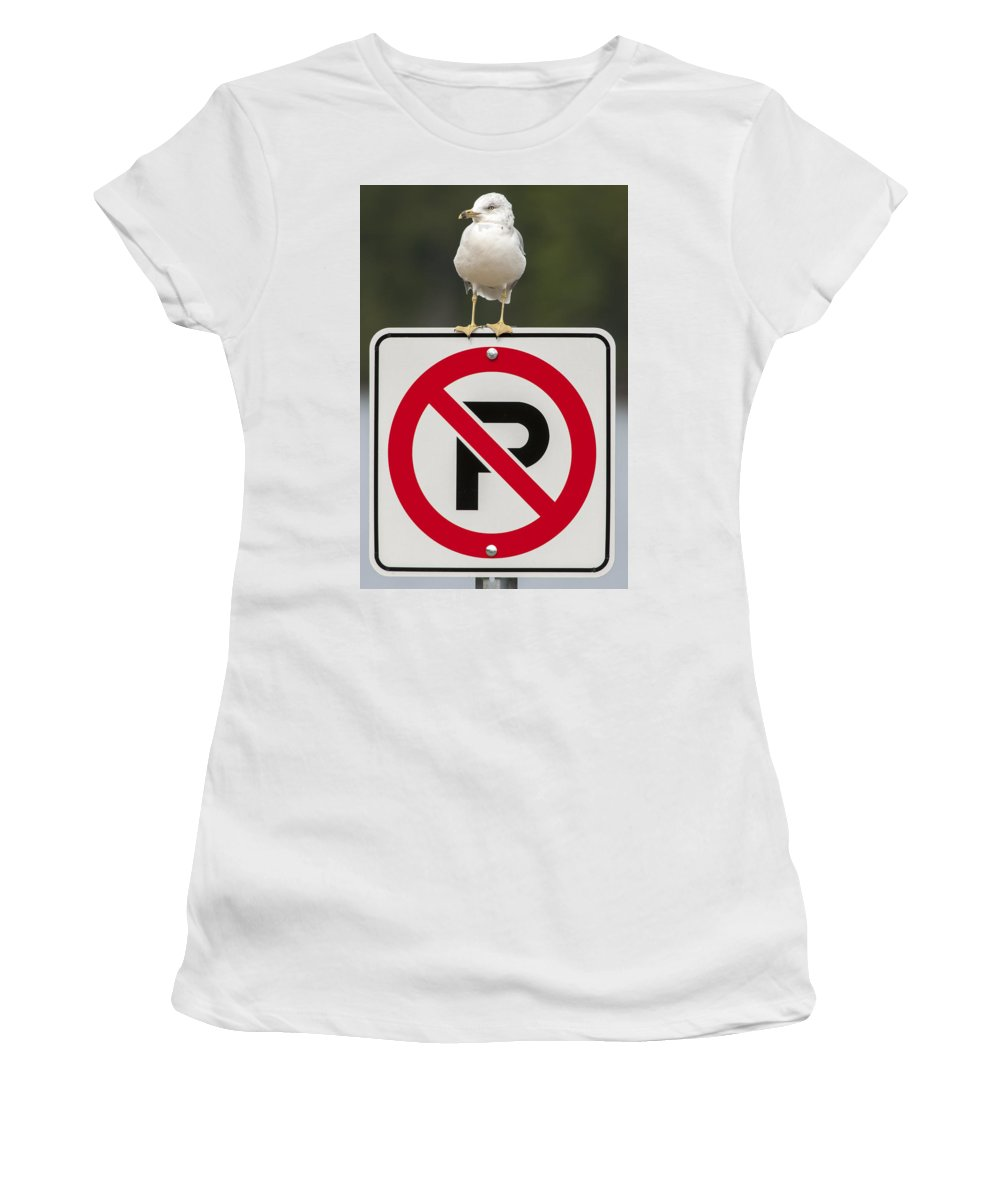 Bird Women's T-Shirt (Athletic Fit) featuring the photograph No Parking by Richard Kitchen