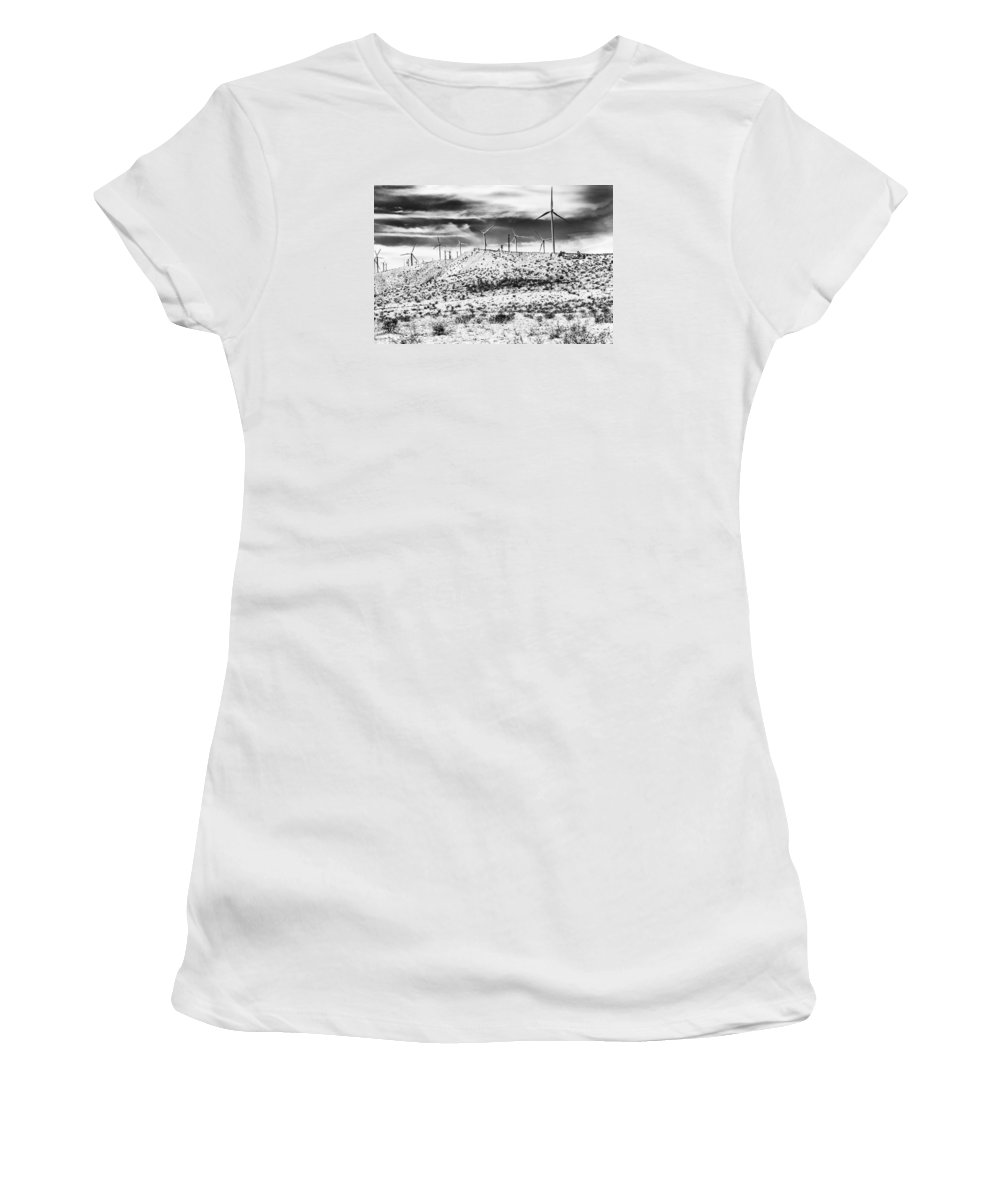 Black And White Women's T-Shirt featuring the photograph No Place Like Home 1 Bw Palm Springs by William Dey