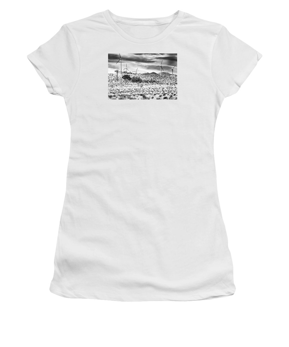 No Place Like Home Women's T-Shirt featuring the photograph No Place Like Home Bw Palm Springs Desert Hot Springs by William Dey