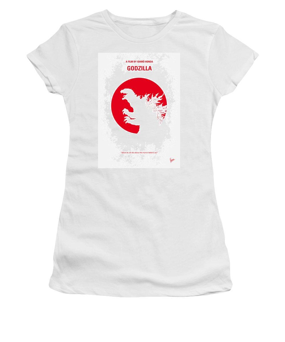 Godzilla Women's T-Shirt featuring the digital art No029-2 My Godzilla 1954 Minimal Movie Poster.jpg by Chungkong Art