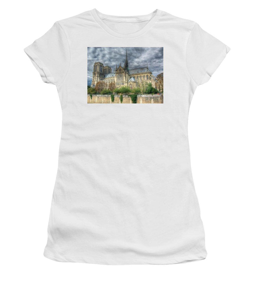 Paris Women's T-Shirt (Athletic Fit) featuring the photograph Notre Dame by Michael Kirk