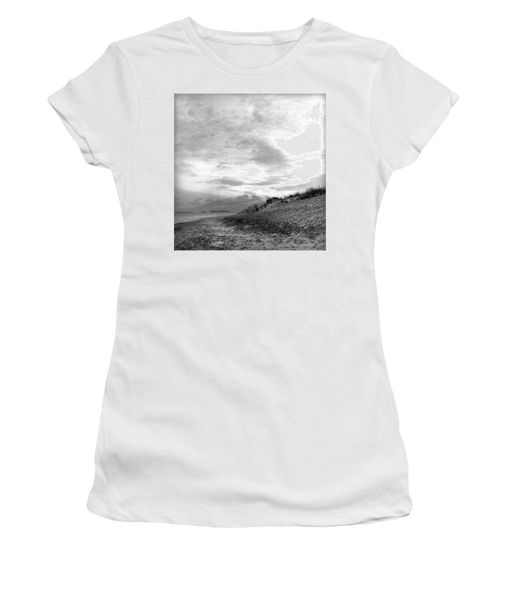 B&w Women's T-Shirt (Athletic Fit) featuring the photograph November Dusk At Linwood's by Timothy Bischoff