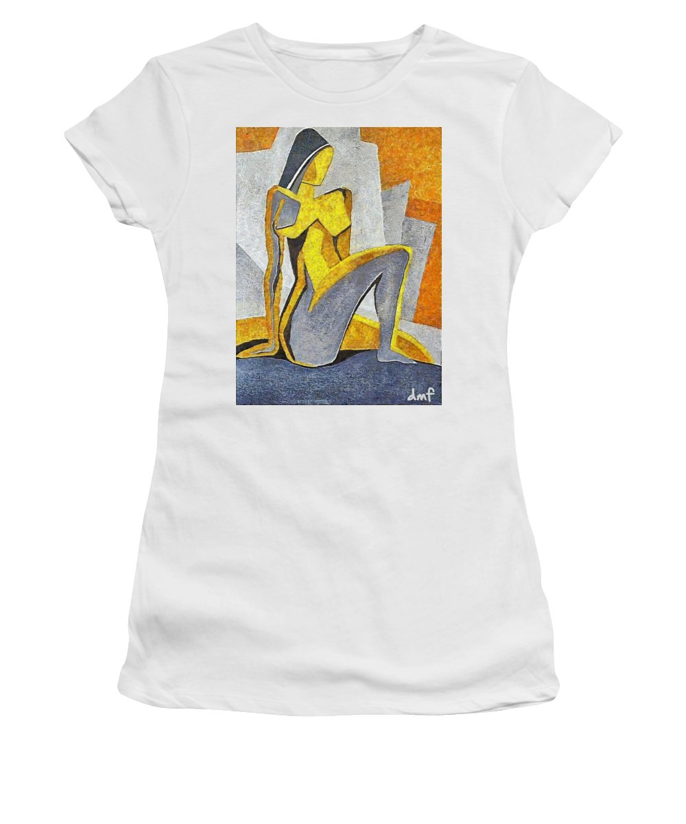 Nude Women's T-Shirt (Athletic Fit) featuring the painting Nude I by Dragica Micki Fortuna