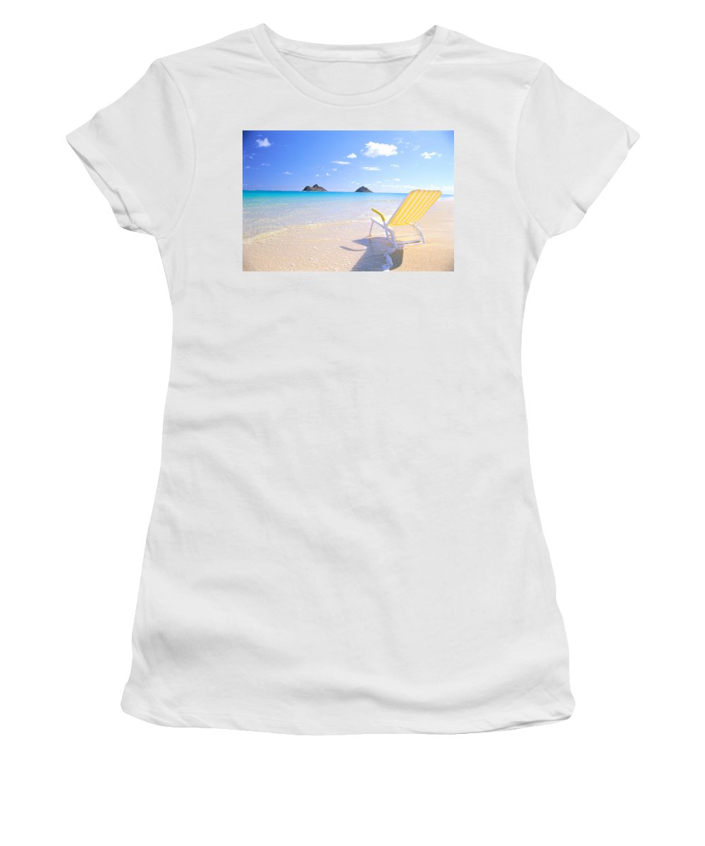 Beach Women's T-Shirt featuring the photograph Oahu Lanikai Beach by Bill Brennan - Printscapes