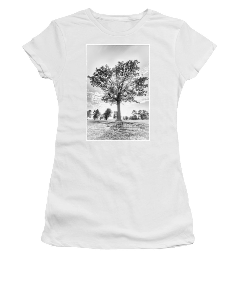 Blue Hour Women's T-Shirt featuring the photograph Oak Tree Bw by Jakub Sisak