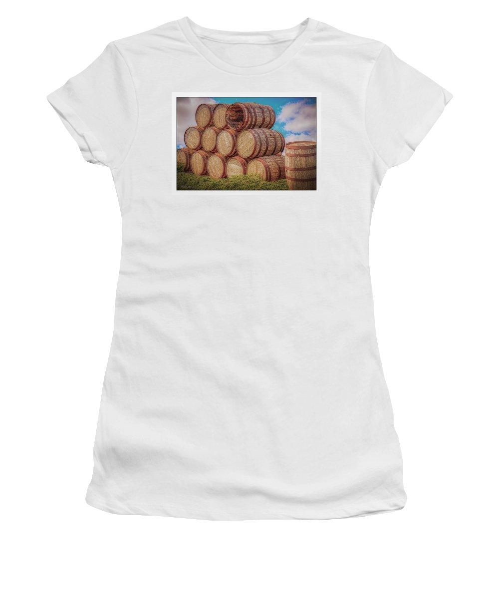 Food And Beverage Women's T-Shirt (Athletic Fit) featuring the photograph Oak Wine Barrels by LeeAnn McLaneGoetz McLaneGoetzStudioLLCcom