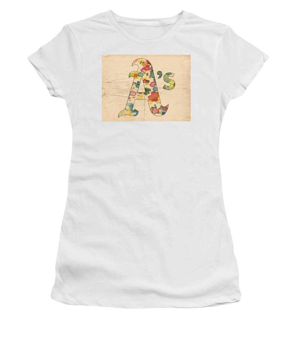 Oakland Athletics Women's T-Shirt featuring the painting Oakland Athletics Logo Vintage by Florian Rodarte