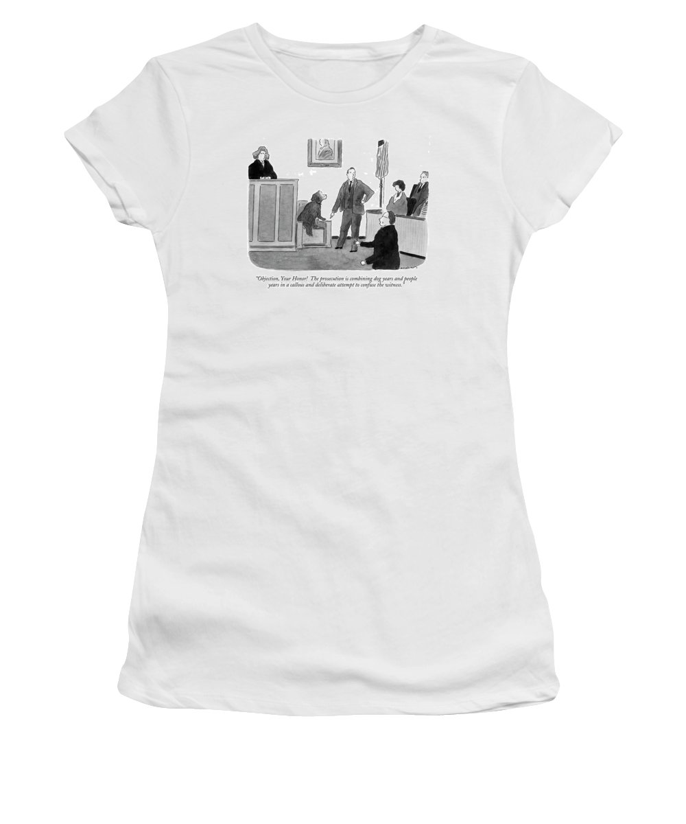 Law Women's T-Shirt (Athletic Fit) featuring the drawing Objection, Your Honor! The Prosecution by Danny Shanahan
