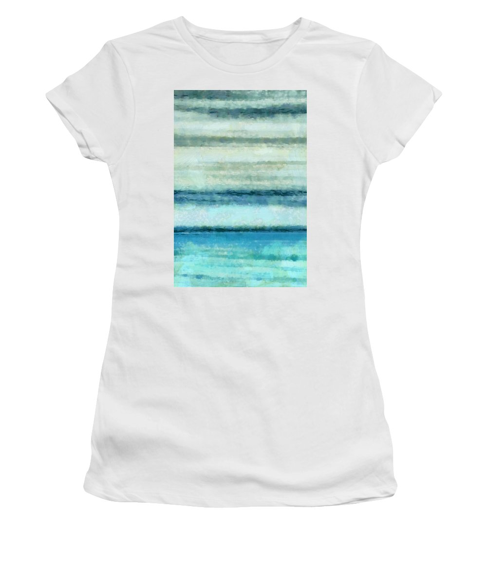 Ocean Women's T-Shirt (Athletic Fit) featuring the mixed media Ocean 4 by Angelina Vick