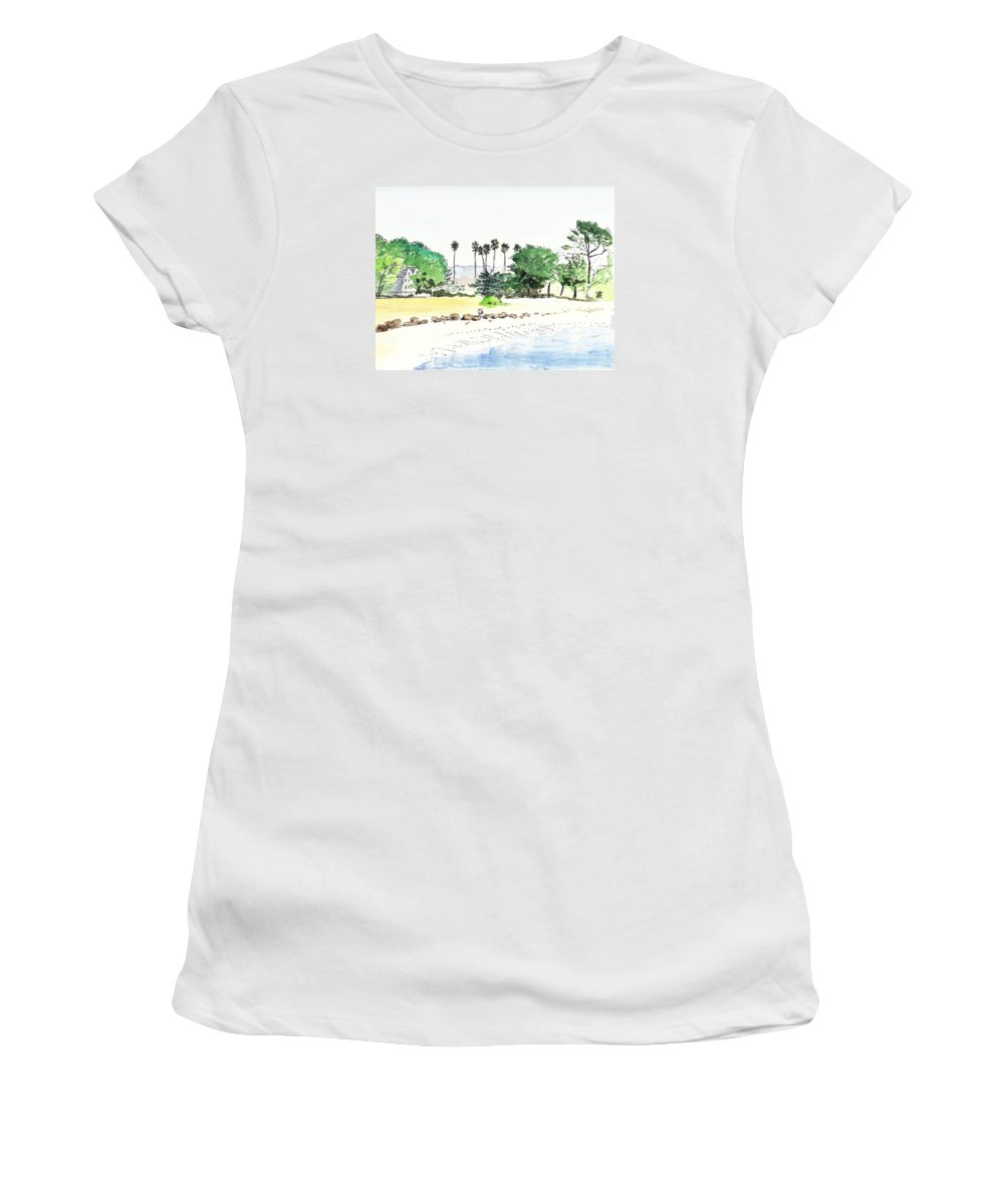 Sketch Women's T-Shirt (Athletic Fit) featuring the painting Ocean Beach by Masha Batkova