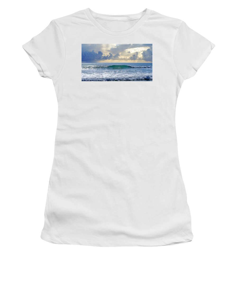 Blue Wave Women's T-Shirt (Athletic Fit) featuring the photograph Ocean Blue by Laura Fasulo