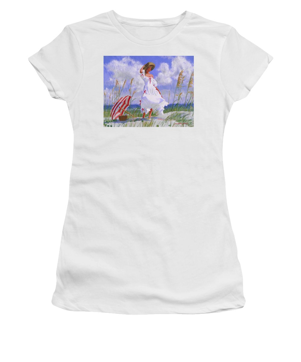 Impressionist Women's T-Shirt (Athletic Fit) featuring the painting Ocean Breeze Blues by Candace Lovely