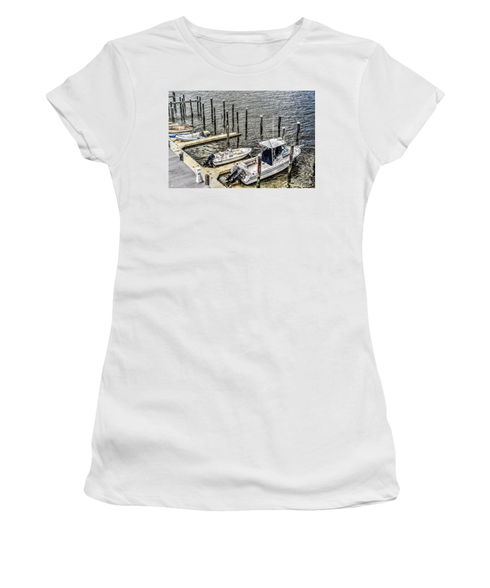 J. Zaring Women's T-Shirt (Athletic Fit) featuring the photograph Ocnj Boats At Marina by Joshua Zaring