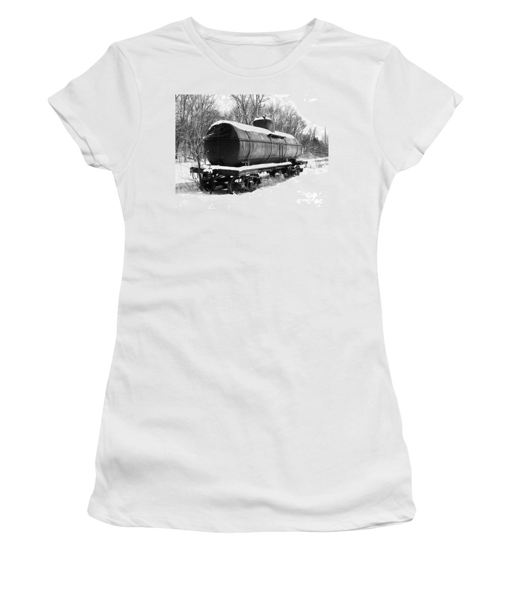 Train Women's T-Shirt featuring the photograph Off The Beaten Track by Sara Raber