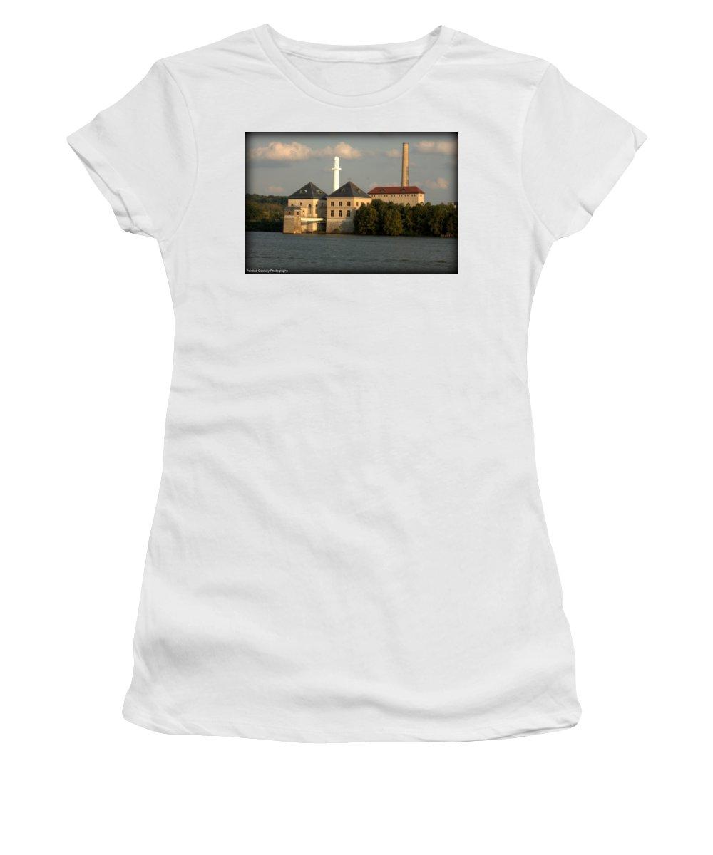 Building Women's T-Shirt (Athletic Fit) featuring the photograph Ohio River Bank by Daniel Jakus