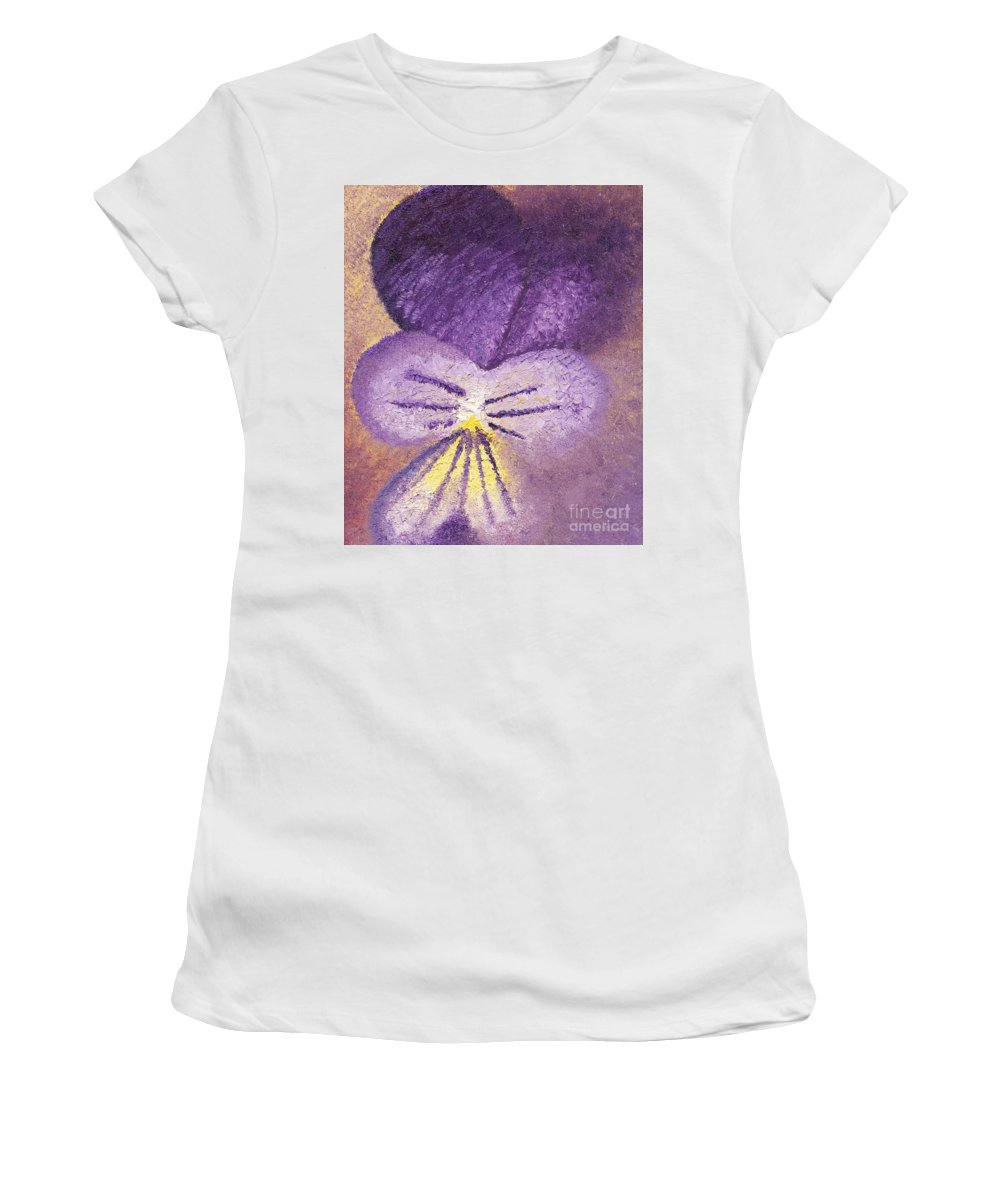Pansy Women's T-Shirt (Athletic Fit) featuring the painting Oil Painting Of Pansy - Viola Tricolor by Kerstin Ivarsson