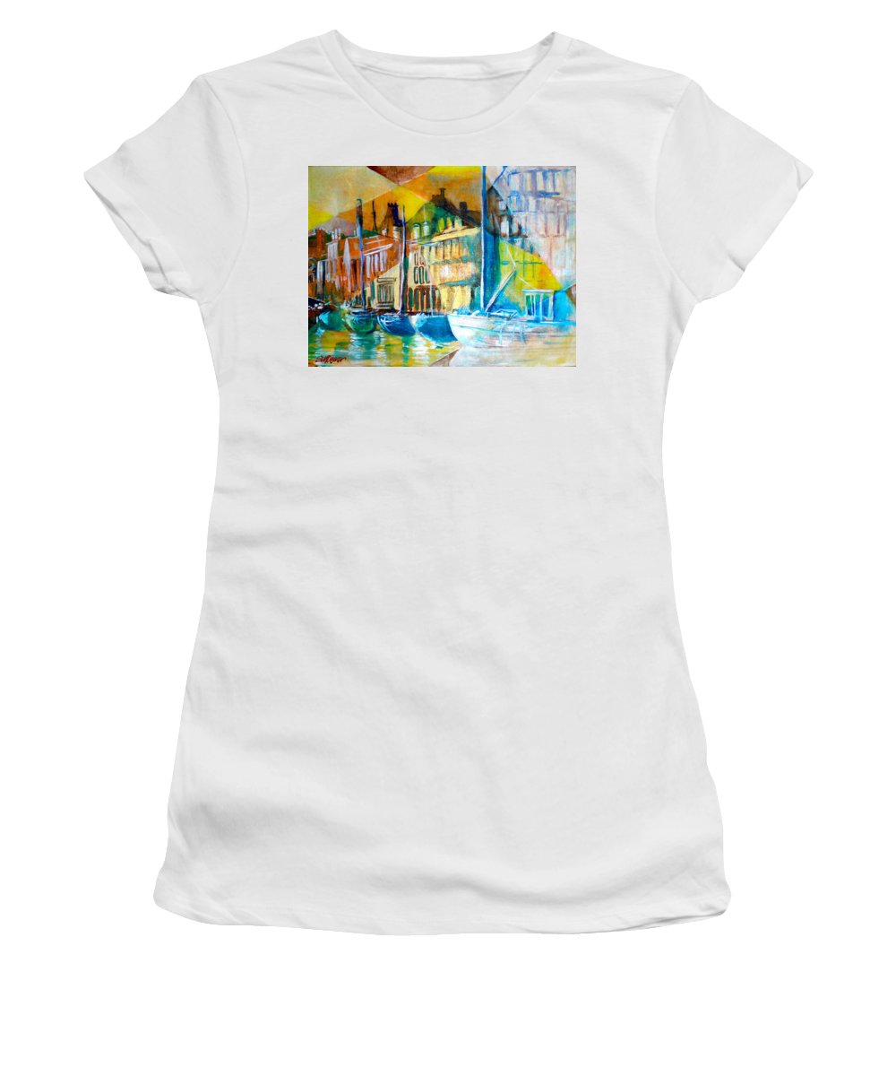 Old World Street Women's T-Shirt featuring the painting Old Copenhagen thru Stained Glass by Seth Weaver