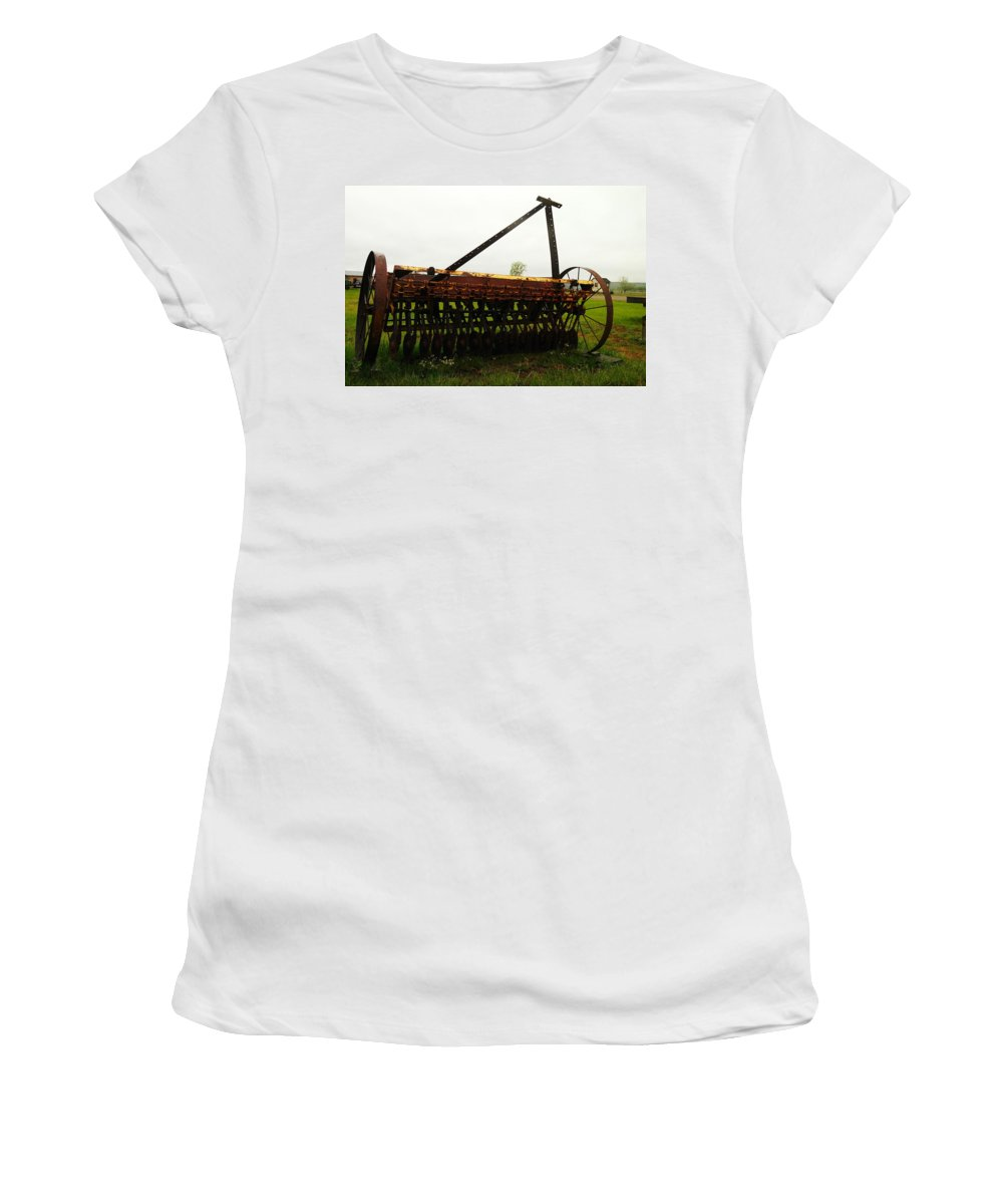 Antiques Women's T-Shirt featuring the photograph Old Farm Equipment by Jeff Swan