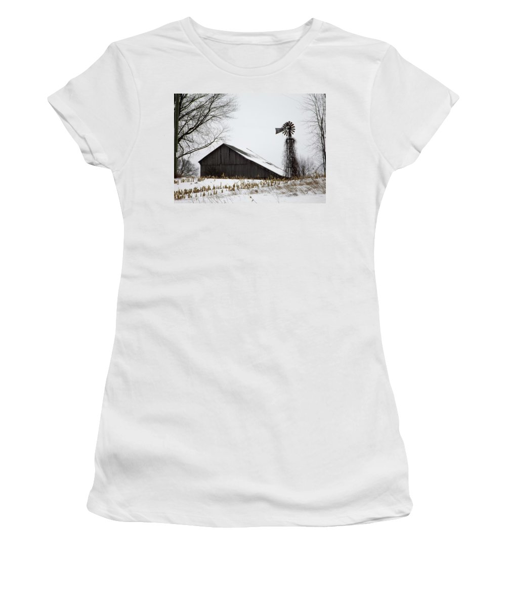 Windmill Women's T-Shirt (Athletic Fit) featuring the photograph Old Farm by Linda Kerkau