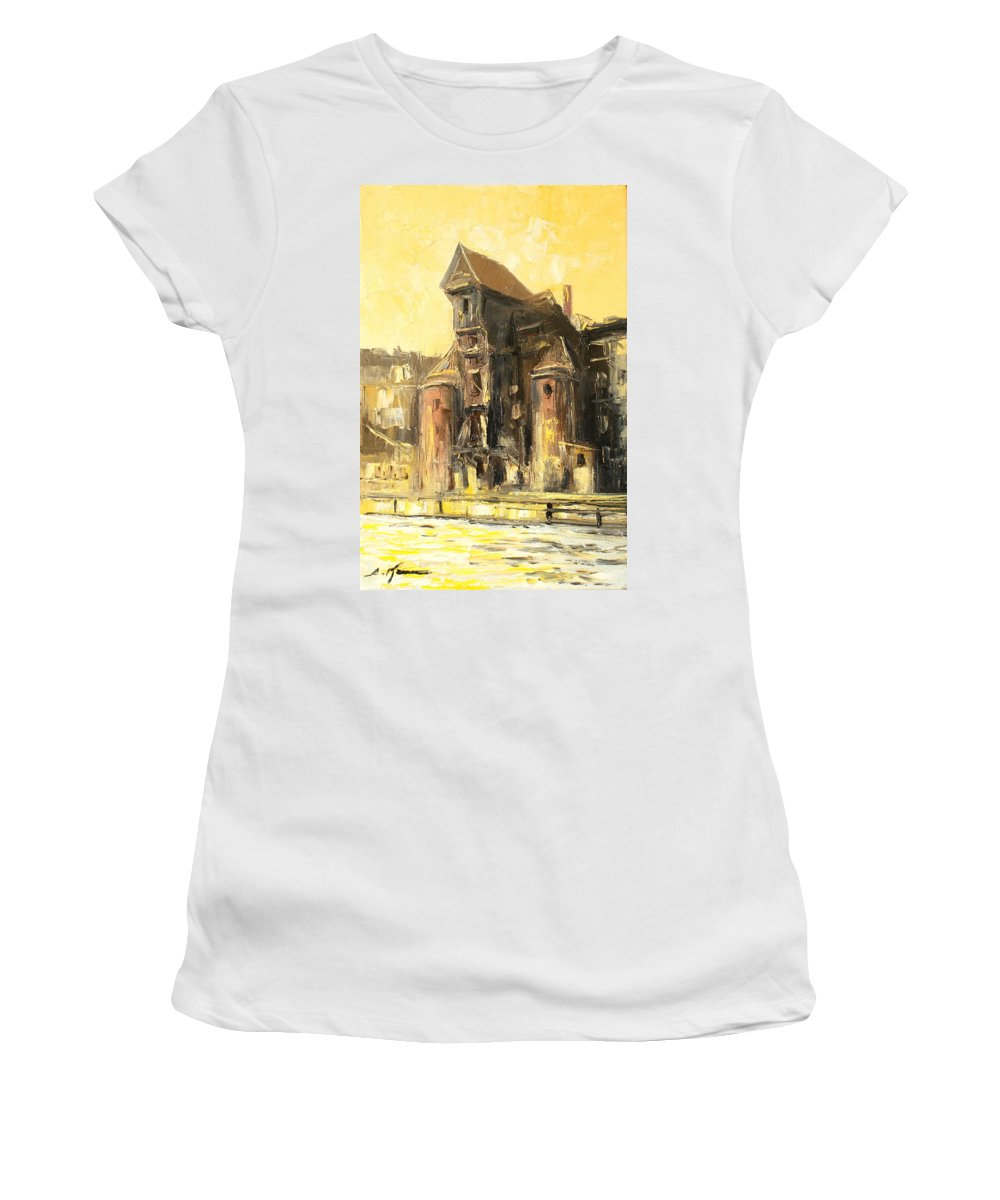 Gdansk Women's T-Shirt featuring the painting Old Gdansk - The Crane by Luke Karcz