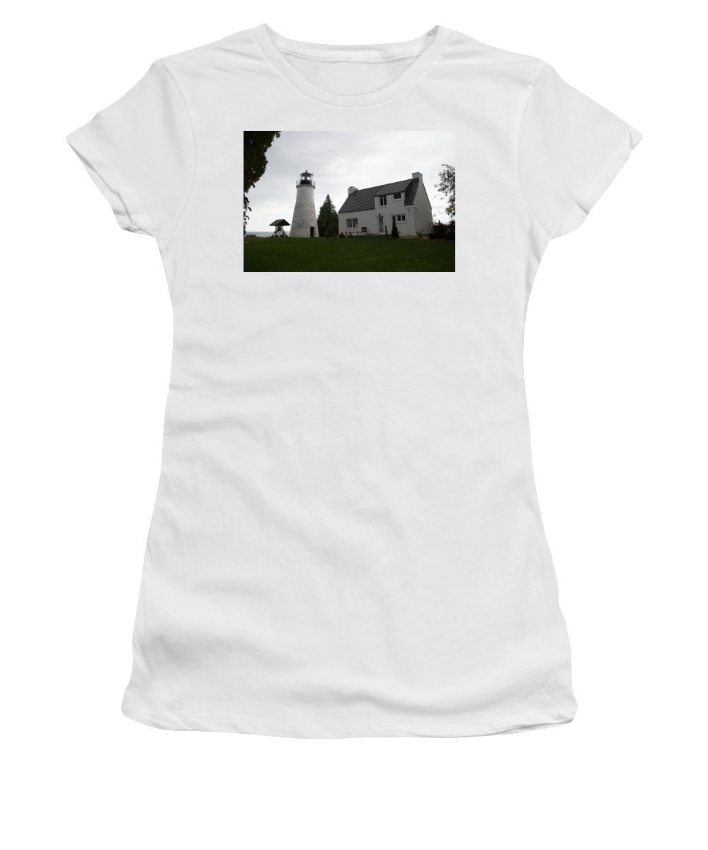 Lake Huron Women's T-Shirt (Athletic Fit) featuring the photograph Old Light by Linda Kerkau