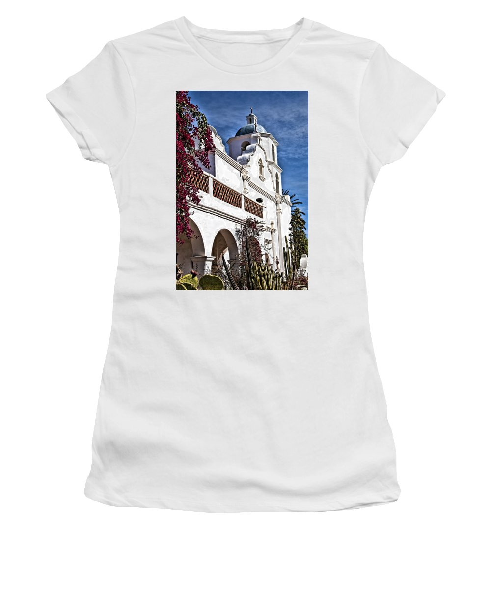 Mission San Luis Rey California Women's T-Shirt featuring the photograph Old Mission San Luis Rey - California by Jon Berghoff