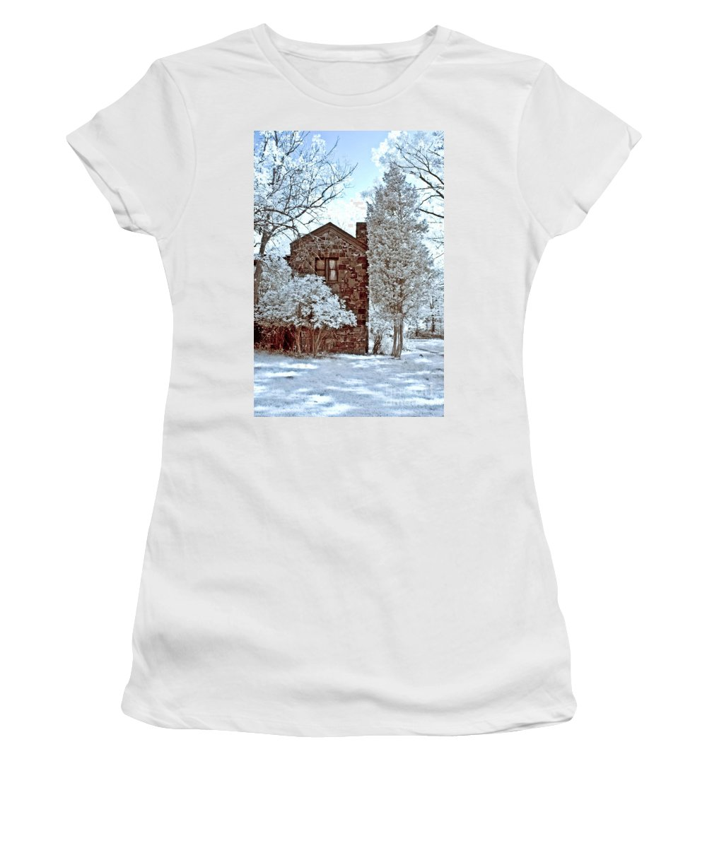 Trees Women's T-Shirt (Athletic Fit) featuring the photograph Old Stone House by Anthony Sacco