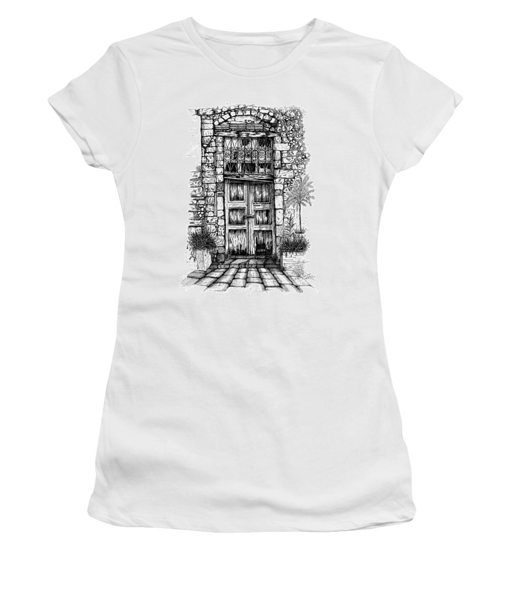 Arhitektura Prespective Women's T-Shirt featuring the drawing Old Venetian Door In Rethymno by Franko Brkac
