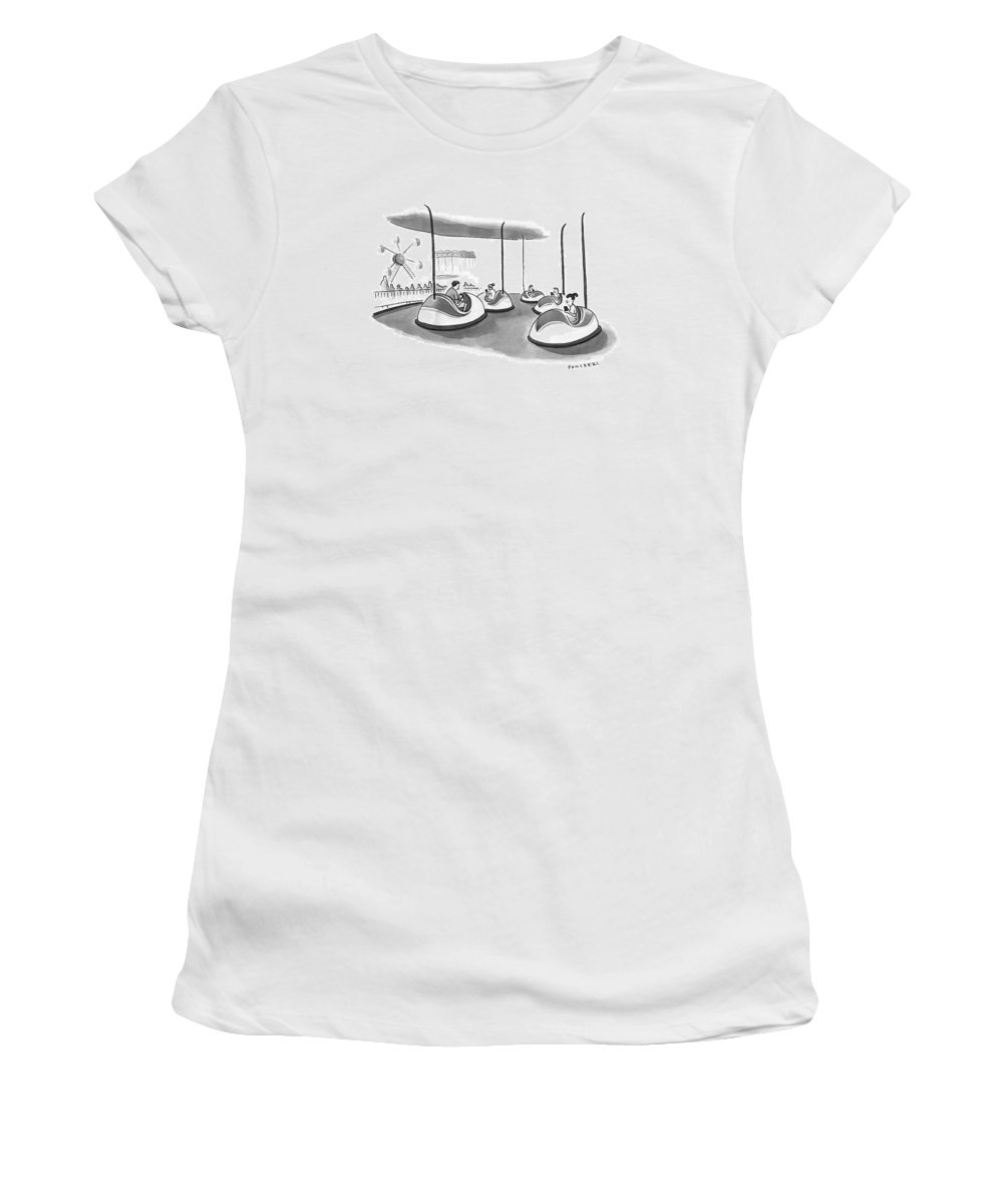 Bumper Cars Women's T-Shirt featuring the drawing On Bumper Cars by Drew Panckeri