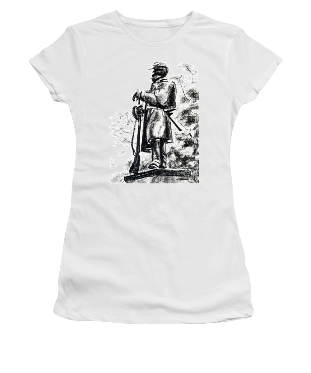 On Duty In Brigadoon No Ch101 Women's T-Shirt (Athletic Fit) featuring the drawing On Duty In Brigadoon No Ch101 by Kip DeVore