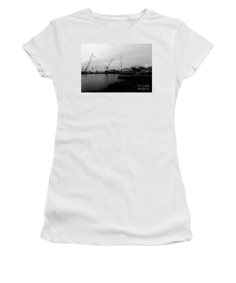 Black And White Women's T-Shirt featuring the photograph On The Waterfront by Amar Sheow