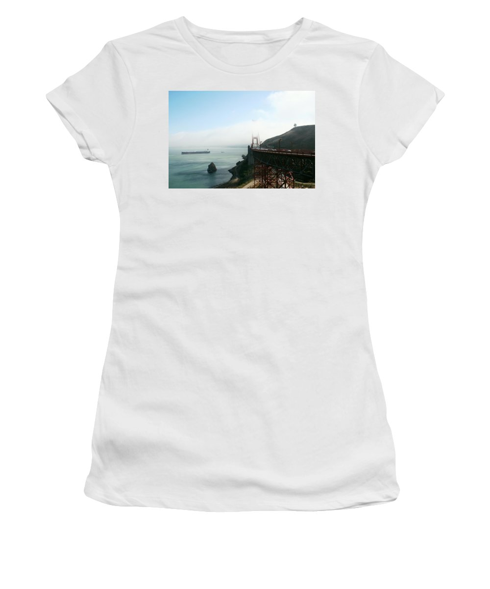 Bridge Women's T-Shirt (Athletic Fit) featuring the photograph On The Way Back To San Francisco by Christiane Schulze Art And Photography