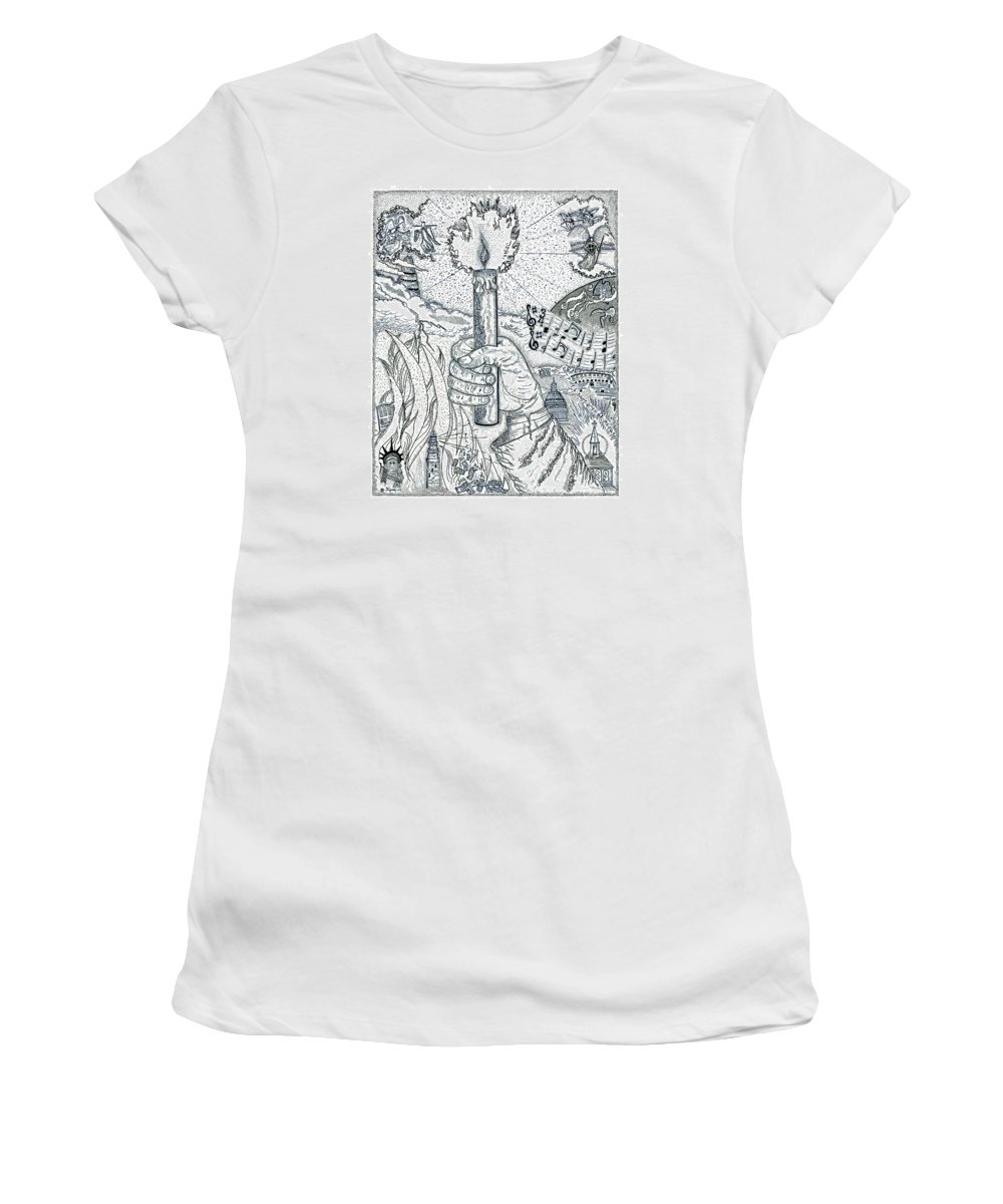 Christian Women's T-Shirt (Athletic Fit) featuring the drawing One Candle by Glenn McCarthy Art and Photography