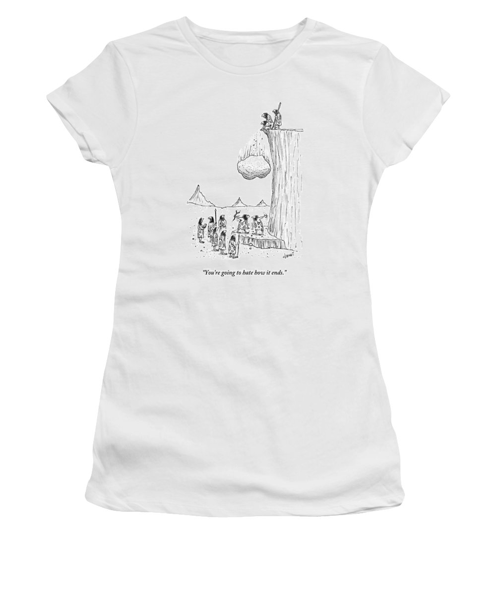Media Id 133686 Women's T-Shirt featuring the drawing One Caveman To Another As They Watch A Boulder by Tom Cheney