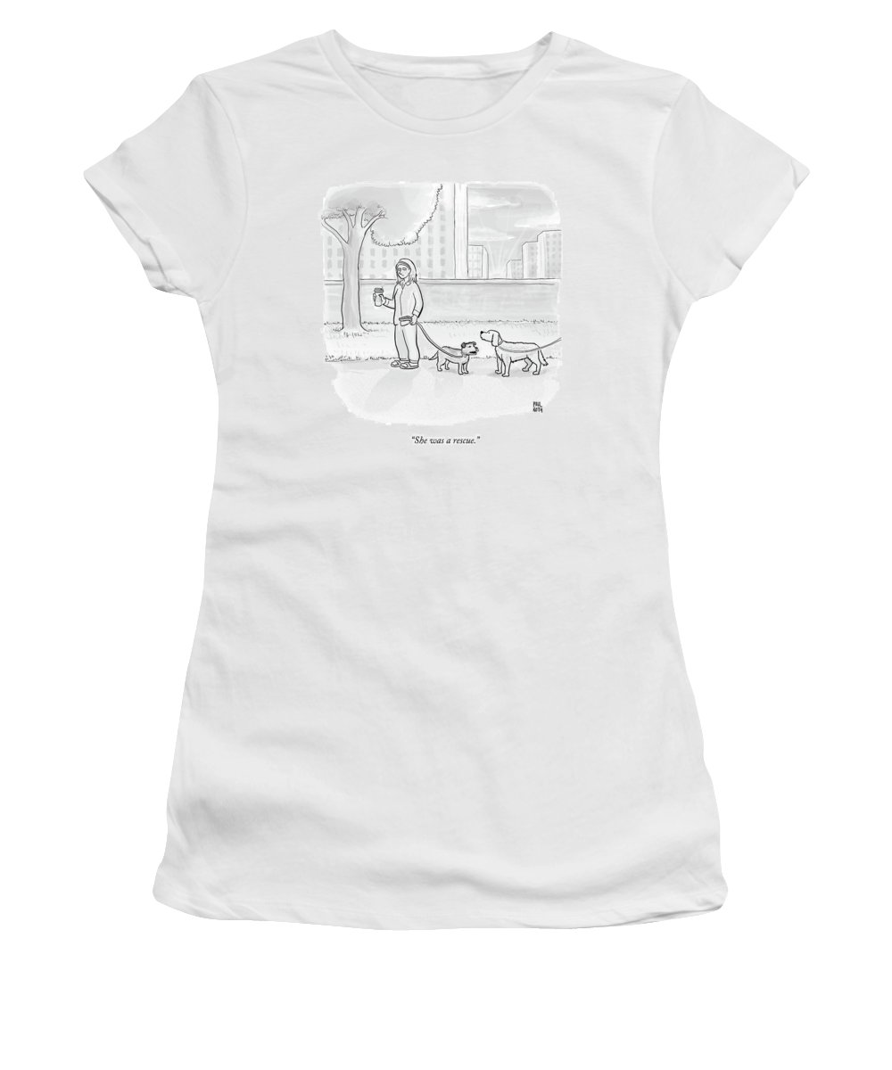 Dogs Women's T-Shirt featuring the drawing One Dog Talks To Another by Paul Noth