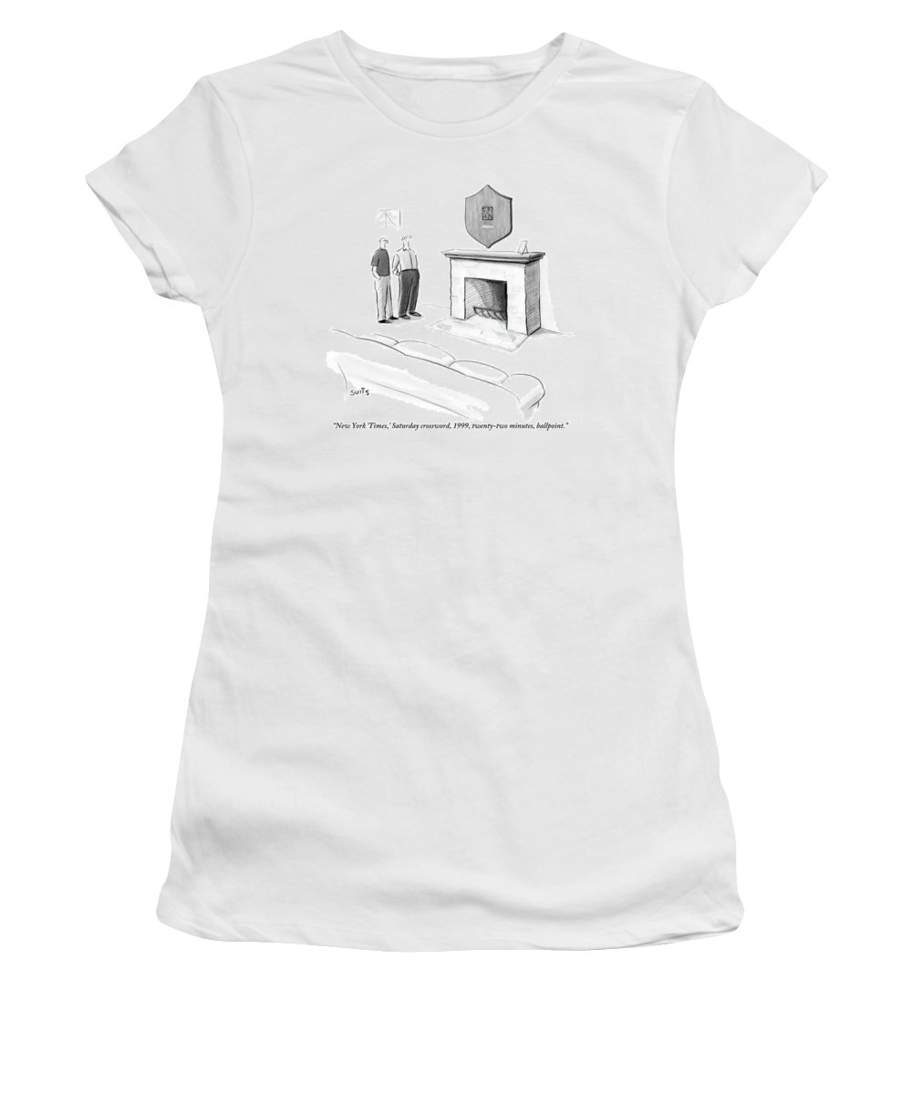 New York Times Women's T-Shirt featuring the drawing One Man Shows Off A Framed Crossword by Julia Suits