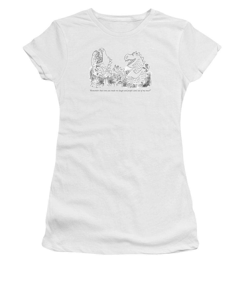 (one Monster Devouring A City Women's T-Shirt featuring the drawing One Monster Devouring A City by Arnie Levin