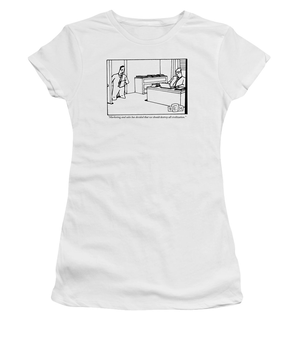 Businessmen Women's T-Shirt featuring the drawing One Office Worker Speaks To Another Seated by Bruce Eric Kaplan
