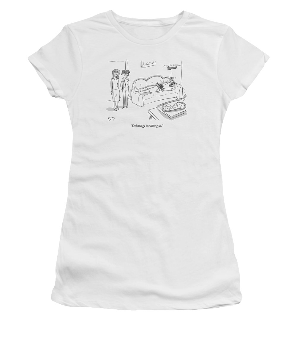 Technology Women's T-Shirt featuring the drawing One Woman Speaks To Another by Farley Katz