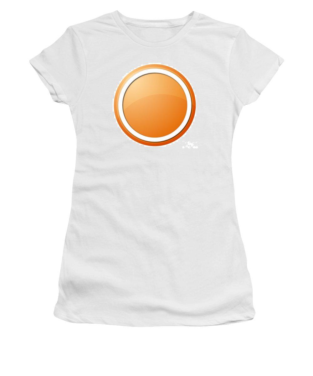 Icon Women's T-Shirt (Athletic Fit) featuring the digital art Orange Button by Henrik Lehnerer