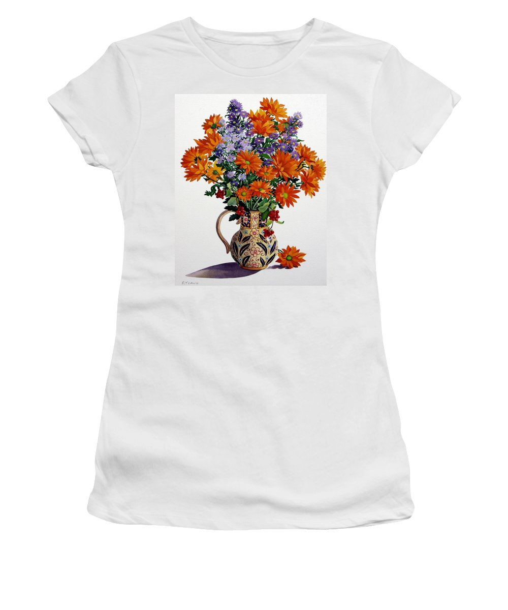 Flowers Women's T-Shirt featuring the painting Orange Chrysanthemums by Christopher Ryland